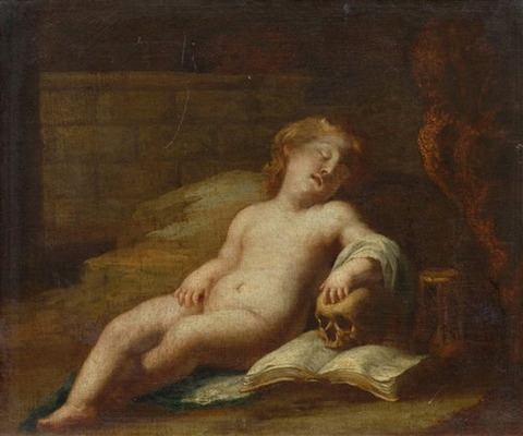 Bolognese School, 17th Sleeping putto