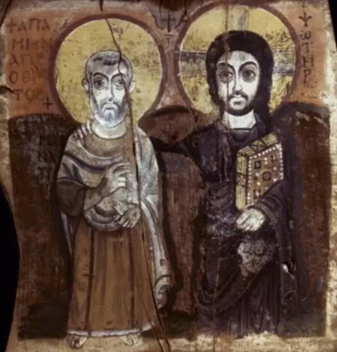 CHRIST and abbot Mena. Painting on wood, 7th