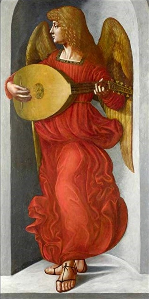 Associate of Leonardo An Angel in Red with a Lute -