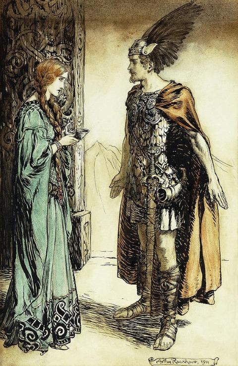Siegfried Meets Gutrune  Arthur Rackham