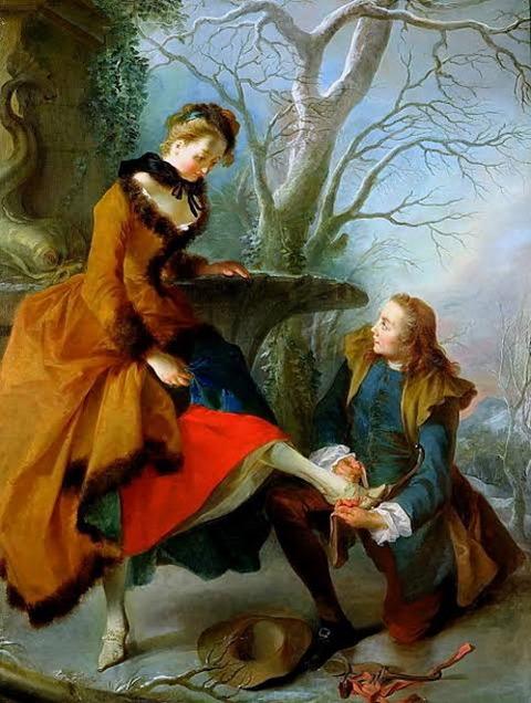 Nicolas Lancret - Fastening the Skate  1690-1743