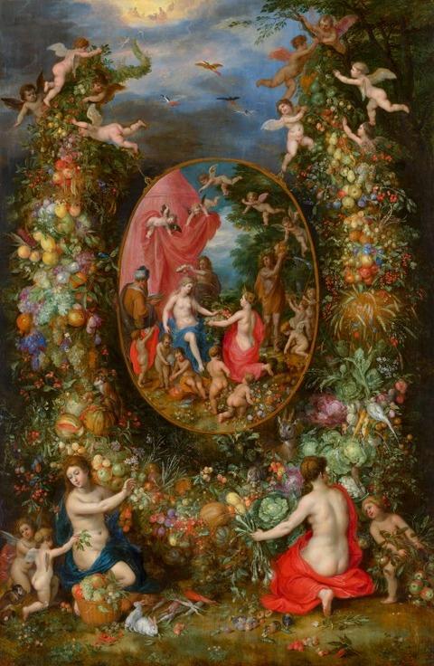 Cybele and Seasons in a Garland of Fruit 1618  Jan Bruegel Elder