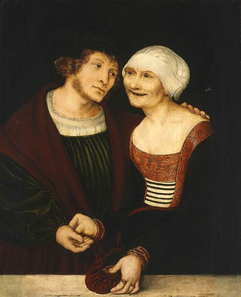 Amorous Old Woman Young Man by Lucas Cranach the Elder  1520-22