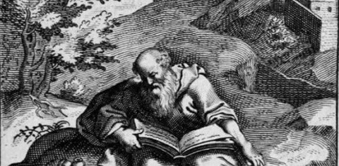 17th century engraving of the death of Aeschylus -