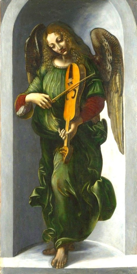 Associate of Leonardo, An Angel in Green with a Vielle -1506