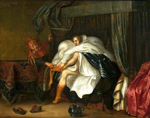 Adriaen van de Venne Woman and a jester 1630
