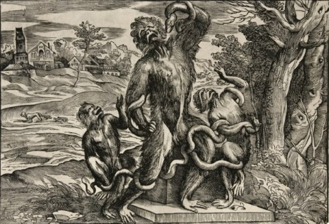 Monkey Laocoön and His Sons by Titian 1545