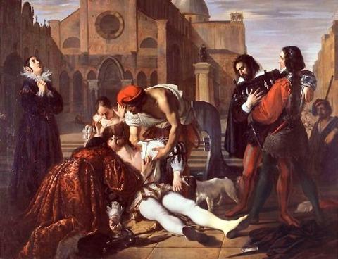 Giuseppe Bezzuoli - Lorenzino de' Medici assassinato 1840