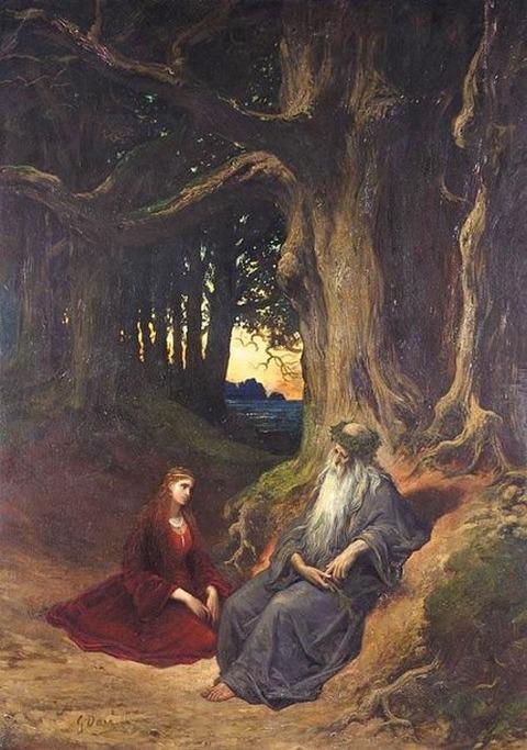 Viviane et Merlin se reposant dans  Gustave Dore 1832-83