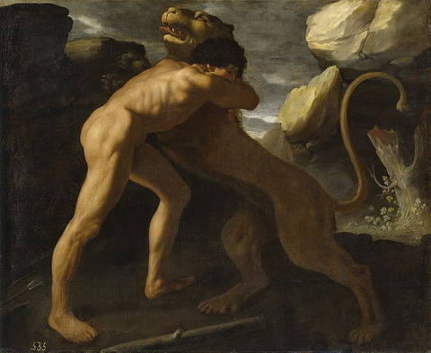 Hercules fighting Nemean lion Francisco de Zurbarán