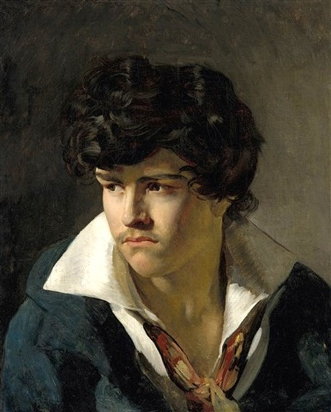 Portrait of Eugène Delacroix a Young Man with an Open Collar