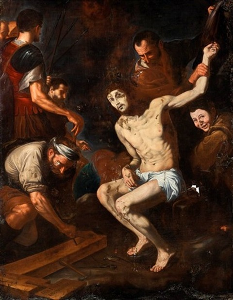 preparation for the crucifixion italian school-neapolitan 1620