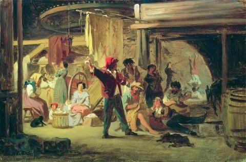 Backstage of the circus, 1859 - Fyodor Bronnikov
