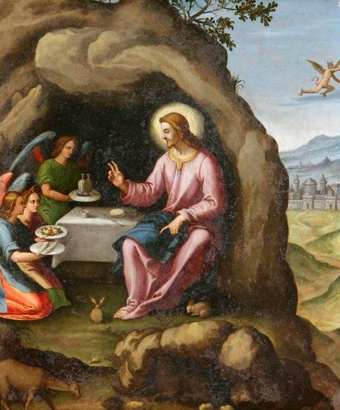 Christ Angels in the Wilderness Italian (Florentine) School