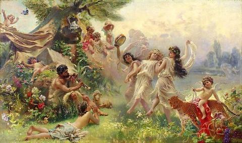 Happy Arcadia by Konstantin Makovsky 1839-1915