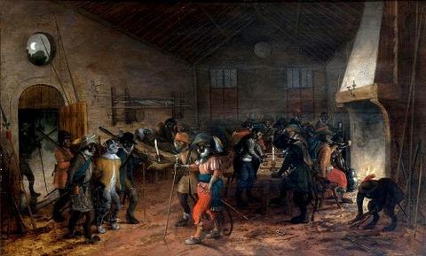 Monkey soldiers taking a cat prisoner, Sebastian Vrancx 17th