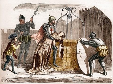 Gilles de Rais disposing of a woman's corpse