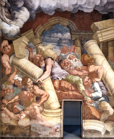 Fresco on the north wall  detail by Giulio Romano, 1532-1534