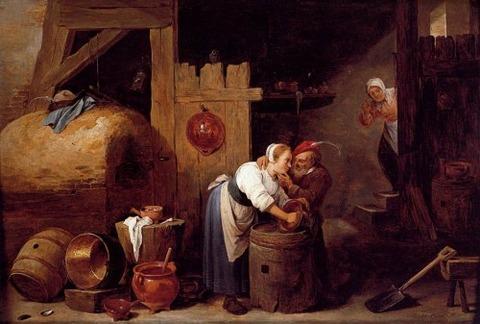 woman scrubbing pots man makes advances David Teniers Younger