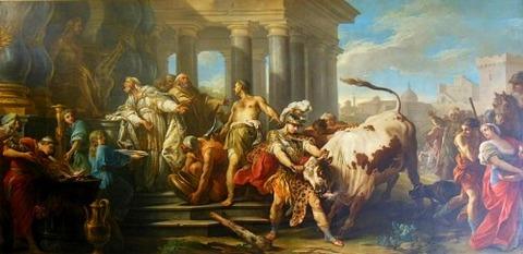 Charles-André Vanloo Theseus Taming the Bull of Marathon 1744-45