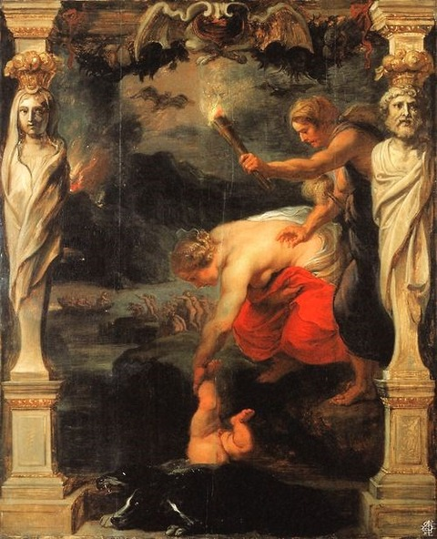Thetis dipping  Achilles  River Styx by Reubens