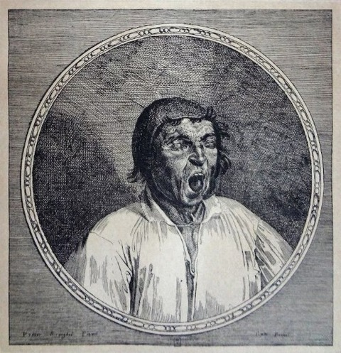 Yawning Man after Peter Bruegel the Elder Engraving Watermark