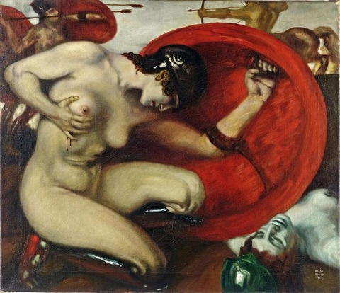Wounded Amazon Painting by Franz von Stuck