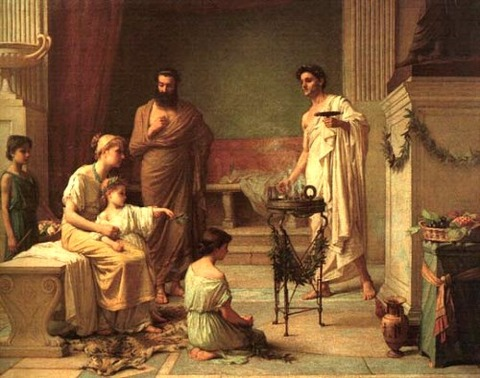 Waterhouse A Sick Child brought  Temple of Aesculapius  1877