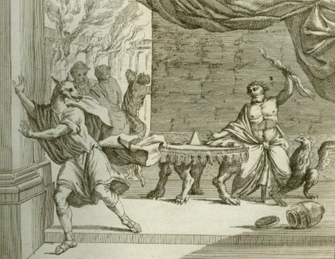 Zeus turning Lycaon into a wolf