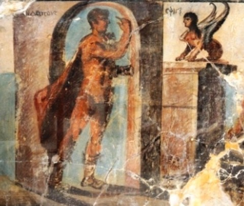 Fresco depicting Oedipus and the Sphinx