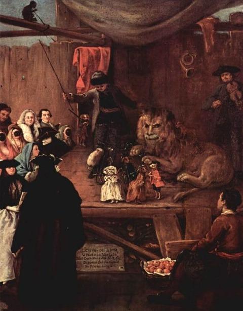 Pietro Longhi, Il casotto del leone (Die Löwenbude), 1762