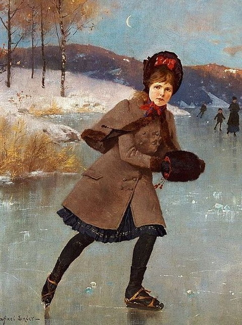 Axel Ender Young girl skating on a frozen lake 1920
