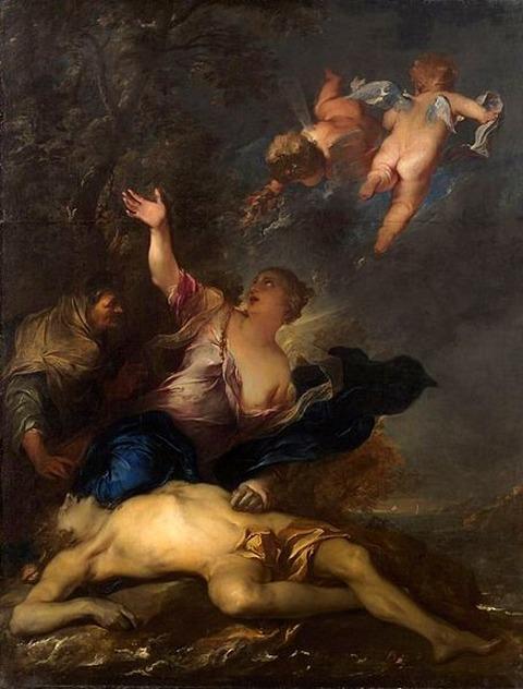 Hero mourns the dead Leander Gillis Backereel 1640