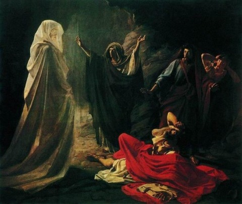 Nikolai Ge, depicting King Saul encountering ghost  Samuel 1857