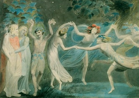 Oberon, Titania and Puck with Fairies Dancing William Blake 1786