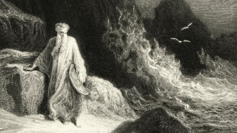 A typical 19th  depiction of Merlin by his cave at Tintagel
