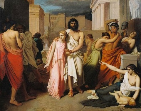 Antigone Or The Plague Of Thebes by Charles Francois Jalabert