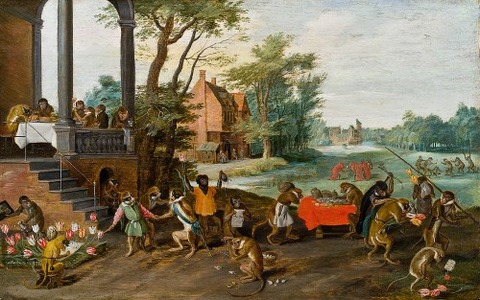 [Allegory of Tulip Mania], by Jan Brueghel the Younger, 1640
