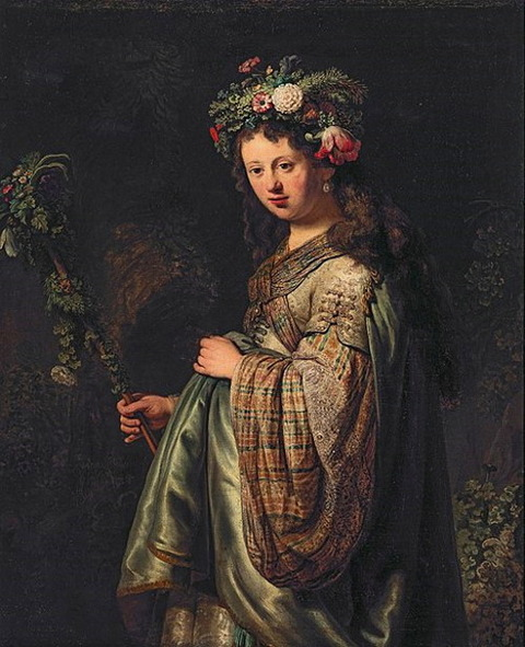 Saskia van Uylenburgh 1634 as Flora, by Rembrandt