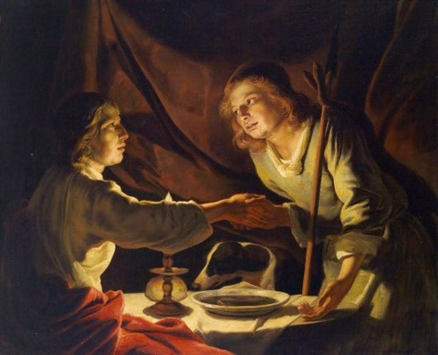 Matthias Stom, Esau [right] selling  birthright to Jacob 17th
