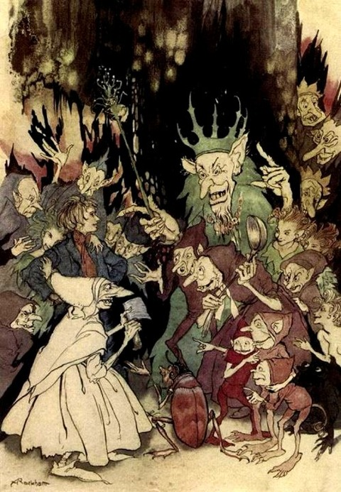 Arthur Rackham- Peer Gynt -Peer before the King of Trolls