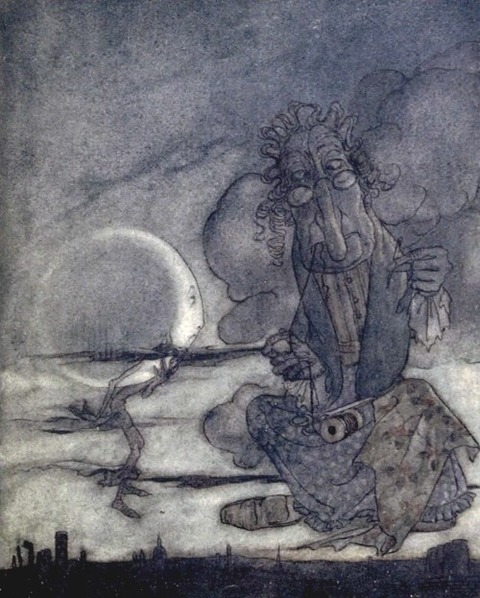 The Moon and her Mother – Aesop's Fables  Arthur Rackham
