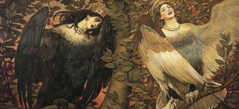 Sirin and Alkonost (1896), Viktor Vasnetsov - コピー