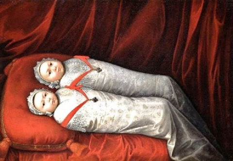 1700s Unknown artist, Twins wearing Crosses