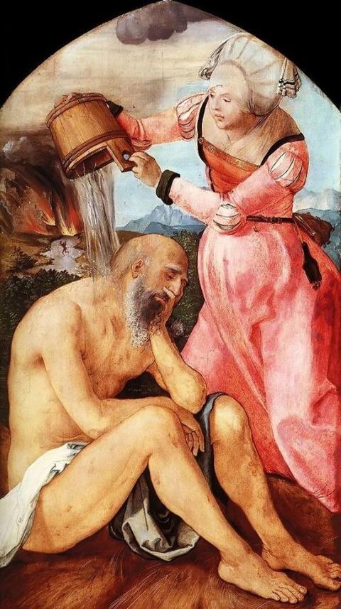 Job and His Wife Albrecht Durer 1504