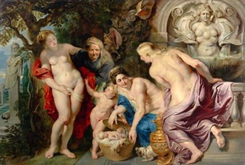 エリクトニオスを発見するケクロプスの娘たち