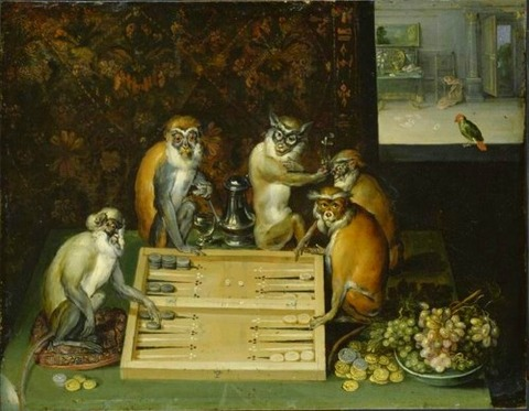 Frans Francken the younger Monkeys paling backgammon