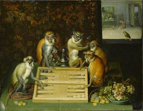 Frans Francken the younger Monkeys paling backgammon