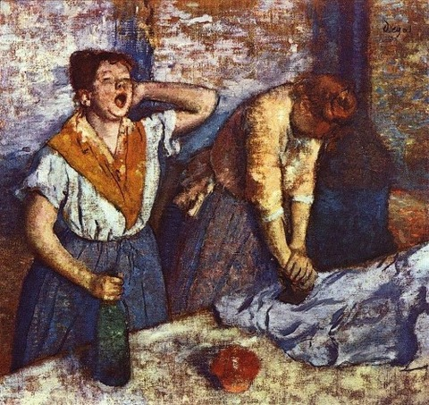 Two women ironing, one with a yawn, by Edgar Degas 1884