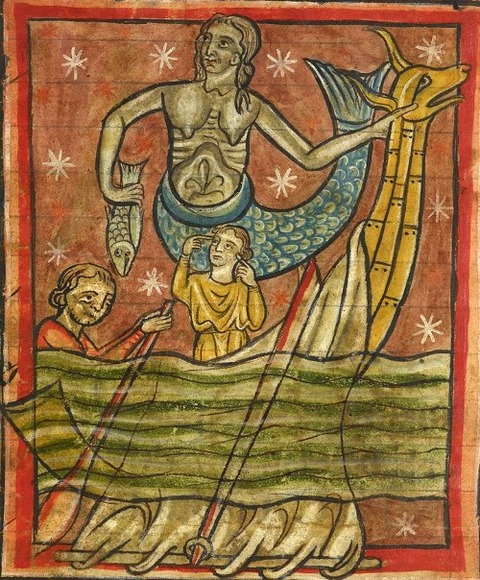 siren enticing sailors who try to resist English Bestiary 1235